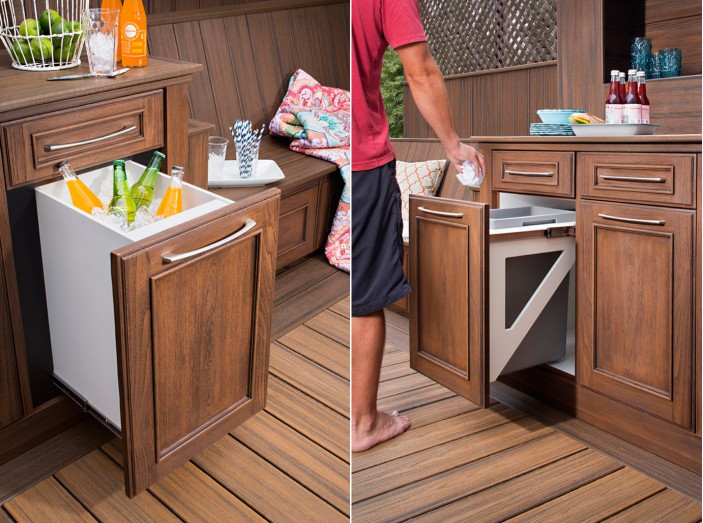 Ice coolers and trash storage cabinets are just two of the new options in our Trex Outdoor Storage collection