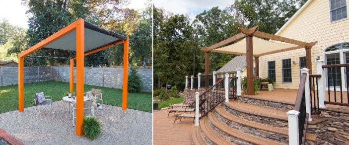 Trex Pergola Air (left) and Vision (right) were recently honored with ADEX Awards for design excellence.